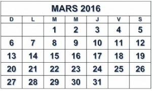 mars - CALENDRIER 2016 copy
